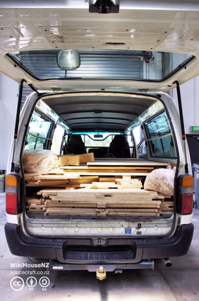 All of the parts to create a WikiHouse fit in the back of a van.