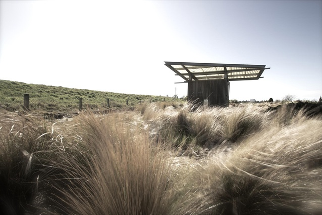 Small Project Architecture Award: Brooklands Lagoon Public Toilet by Opus Architecture. West elevation.