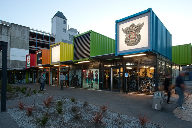 Re:start, a shipping container shopping mall designed by the Buchan Group in Christchurch after the 2011 earthquake.