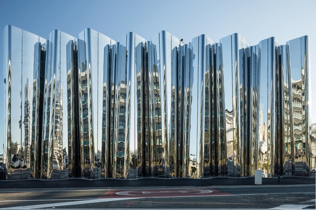 Stainless steel façade of the Len Lye Centre.