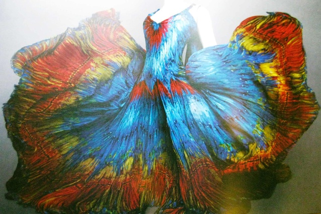 This dress is vibrant and flamboyant - and the inspiration for the Arara rug.