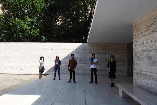 The 2017 Dulux Study Tour participants at the Barcelona Pavilion by Ludwig Mies van der Rohe. From left: Louisa Gee, Imogene Tudor, Alberto Quizon, Morgan Jenkins and Claire Scorpo.