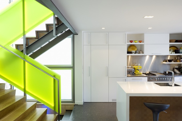 Whare Mahanga features an almost-glowing fluorescent stairway.