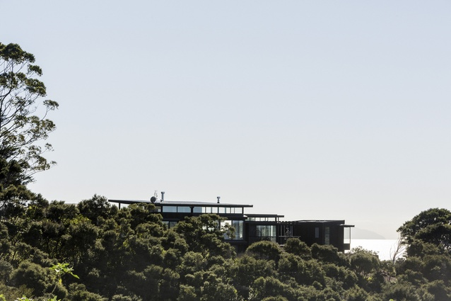 Onetangi House, Waiheke Island, 2014. A substantial ridge line house that is recessive in the landscape but still takes advantage of the spectacular views.