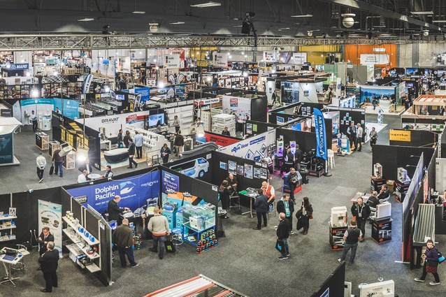 Overview of the 2015 buildnz | designex trade show at ASB Showgrounds, Auckland.