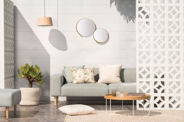 Citta <i>Wish You Were Here, Postcards from Palm Springs</i> collection featuring the Hem Sofa and Segment Mirrors.