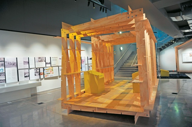 Architect Chris Moller's Click-raft system is featured in the exhibition.