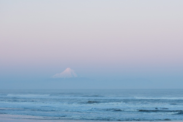 The sea with Mt Taranaki in the distance.
