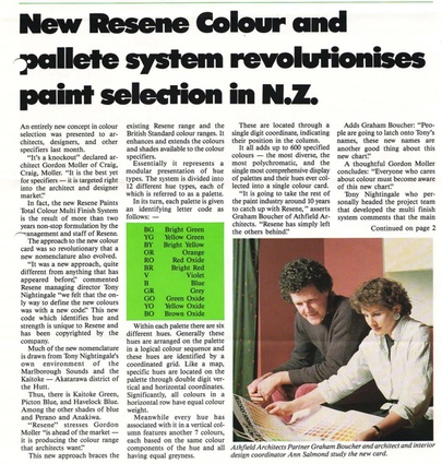 Graham Boucher and Ann Salmond study the revolutionary new Resene colour charts back in 1985.