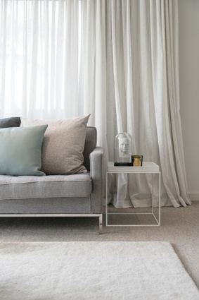 Neutrals dominate as the base palette throughout the house, helping to create a relaxing, serene vibe.