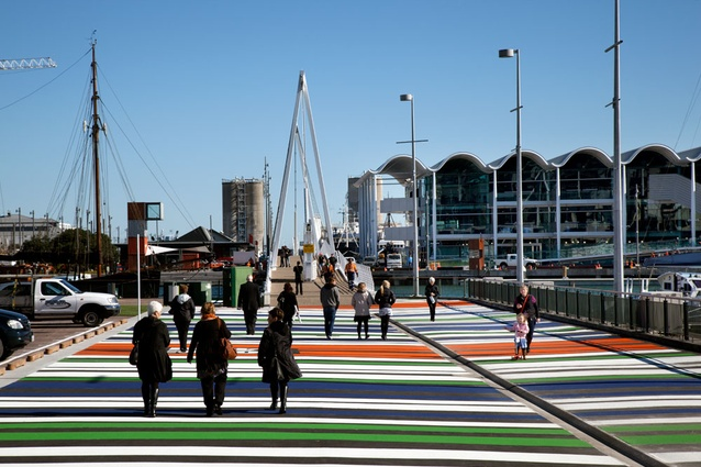 The approach to Wynyard Quarter via Wynyard Crossing, an interim bridge linking the Viaduct with Wynyard Quarter's Jellicoe Street, North Wharf promenade and the Viaduct Events Centre.