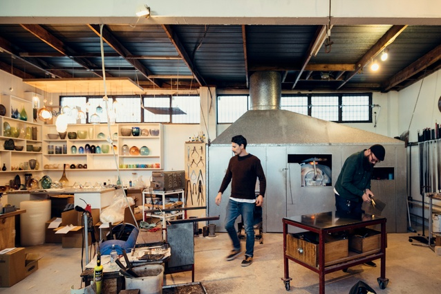 Isaac (left) and Stephen (right) in their Arch Hill glass studio.