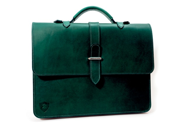Design Junction: Dark-green slimline leather briefcase by British designers Holdall & Co.
