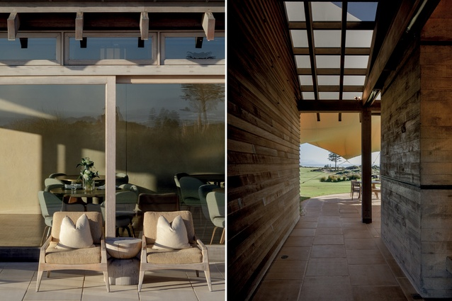 L: Outdoor furniture materials are chosen to weather and change. R: Connections to nature and the Tom Doak-designed course are apparent at every turn.