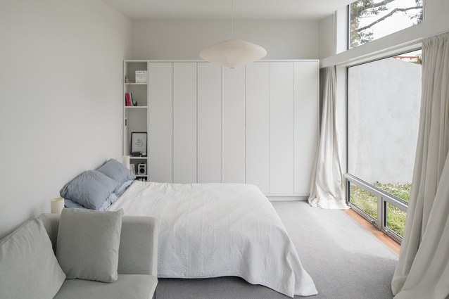 The master bedroom is designed to be large enough for a couch.