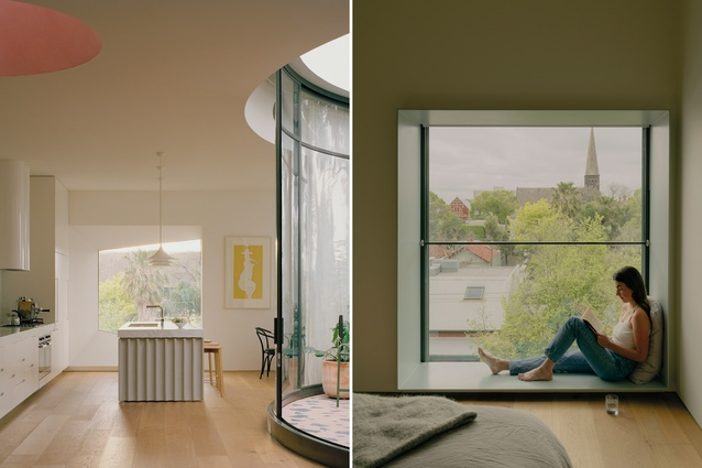 The pink plaster polished finish of the oculus skylight in the living areas glows a range of different colours depending on the  time of day; a generous window reveal makes for a comfortable reading nook.