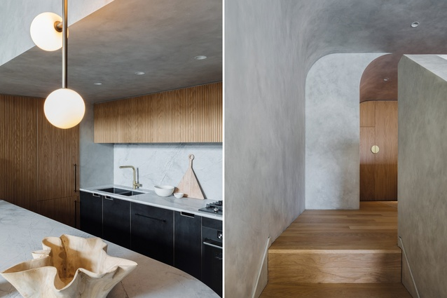 The application of Porter's Paints' French Wash over the walls, ceiling and balustrade resembles concrete, lending the interior its boldest design expression.