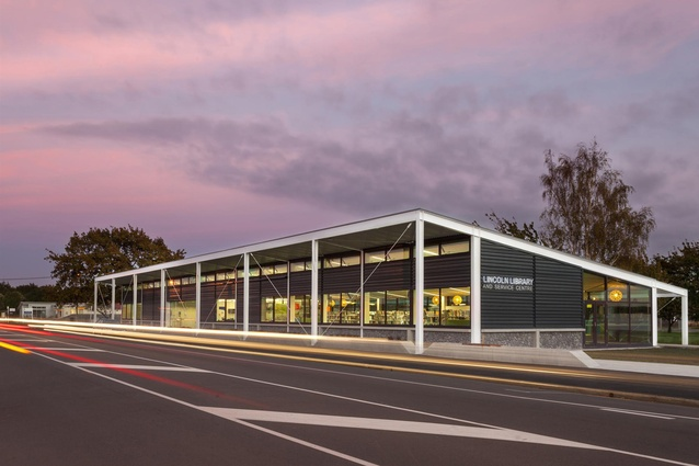 Public Architecture Award: Lincoln Library and Service Centre by Warren and Mahoney. Gerald Street elevation.