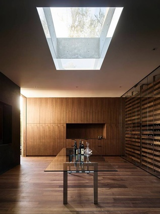 The wine cellar is bathed in natural light.