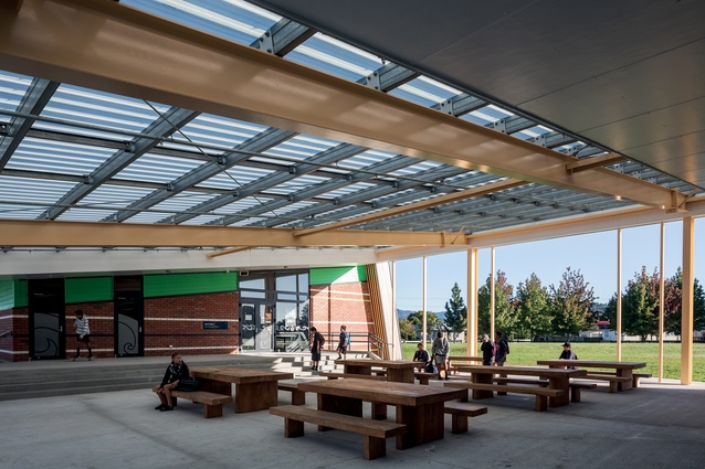 Canopies offer students all-weather places in which to eat and talk.