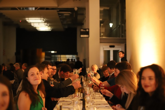 Guests enjoying drinks and dinner at the A+W•NZ Dulux Awards.