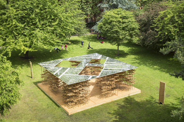 Energy Pavilion. Formed by a forest of stainless steel rods stacked with pinwheels, it is a mesmerising moving metaphor for the 'collective energy of the community'.