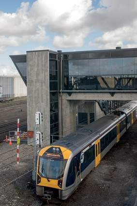 The new train station receives Auckland's electric trains, which were introduced to the city in 2015.