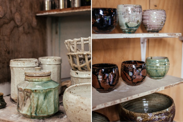 A selection of finished pots: a variety of colours, shapes and sizes.