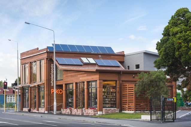 PIKO Wholefoods store, Christchurch. The solar energy system on the roof generates 5kW of solar power, and the renovated building features recycled materials where possible.