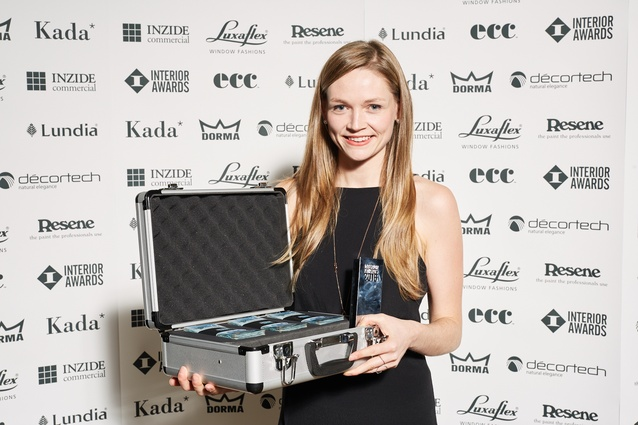 Winner of the Student Award at the 2016 Interior Awards: Kate Turner of UoA for <em>The Fictional Generator</em>. Shown here with her $1,000 cash prize and bespoke trophy.