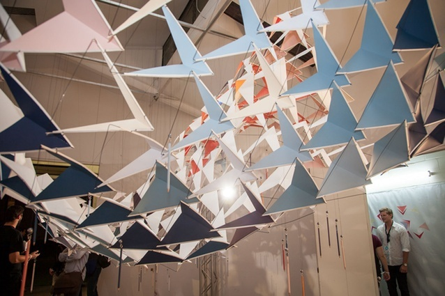 """Lapwood was a member of the design collective four/two/one, who alongside Resene created this installation for Urbis Designday 2015 entitled """"Head in The Clouds""""."""