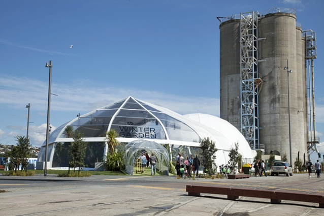 The HP Winter Garden tent near the tanks at Wynyard Quarter in Auckland.