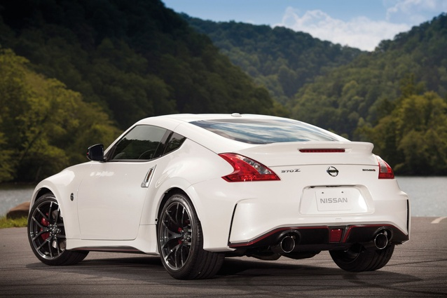 Nissan 370Z Nismo. Two-door coupé made in Japan; 3.7-litre V6 petrol; 253kW/371Nm; 6-speed manual, rear-wheel drive; 1,495kg; length 4.26m; 11.2L/100km.