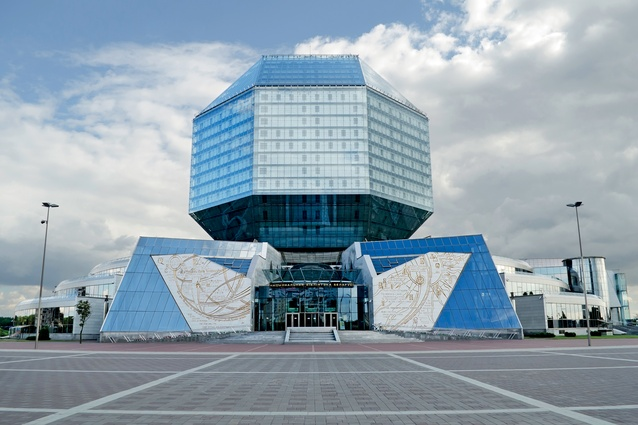 Heat-reflecting glass encapsulates the National Library of Belarus. At night LEDs light up the jewel-like central form.