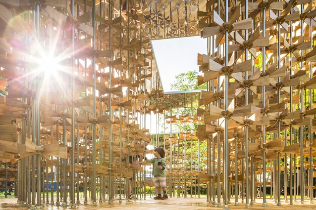 Energy Pavilion, Museum Gardens, London by Five Line Projects. Constructed mainly from bamboo, it is a kinetic playground of moving objects that focuses on user engagement.