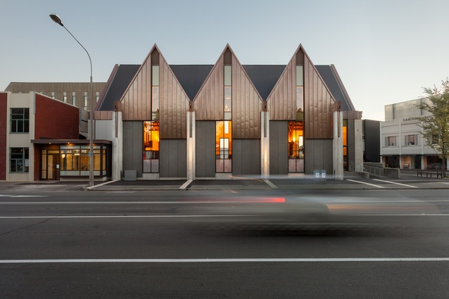 Public Architecture Award: Knox Presbyterian Church rebuild by Wilkie + Bruce Architects. New exterior with remnant interior visible through windows.