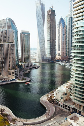 His apartment is situated above the Dubai Marina.
