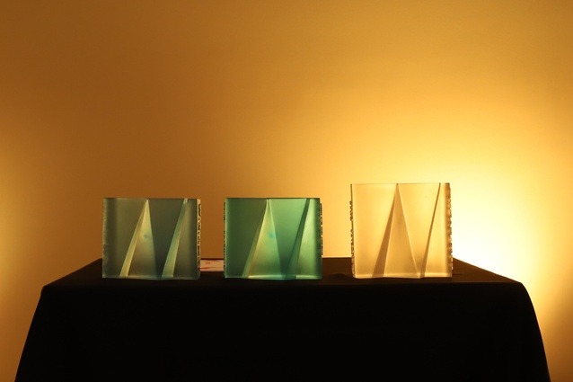 Cast-glass trophies created by Auckland architect and glass sculptor Ainsley O'Connell.
