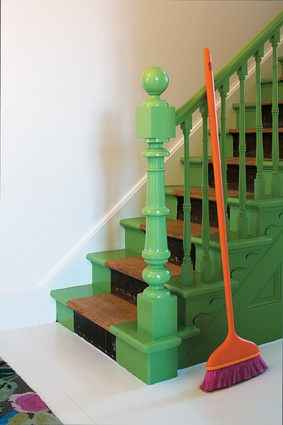 Painted staircase in 'Grass' from Porter's Paints.