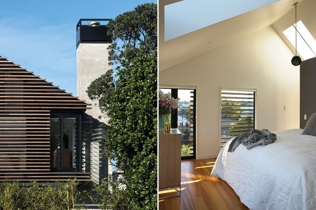 Inspiration for the cedar rainscreen on the rear façade came from a põhutukawa in the garden; the upstairs master suite has raked ceilings and a view to Cox's Bay.