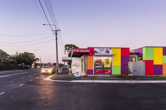Resene Total Colour Commercial Exterior Colour Maestro Award: Hills Road Dairy by Dalman Architects.