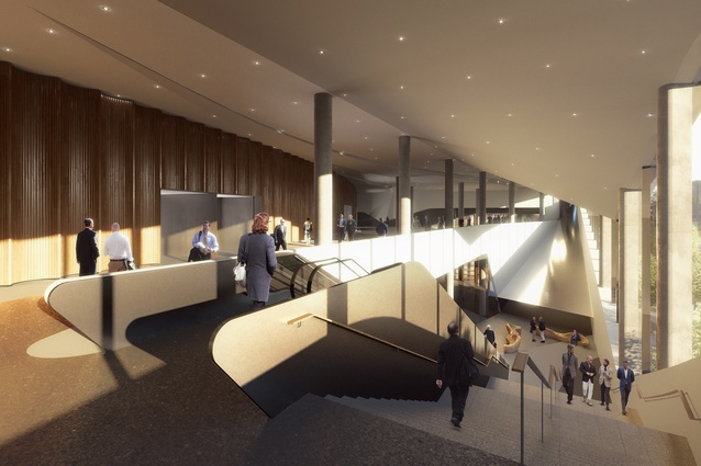 Render of the interior of Christchurch Convention Centre.