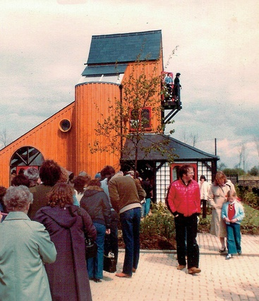 A photograph of Walker's Milton Keynes House, which was built for the 1981 Ideal Homes Exhibition in Milton Keynes, England, taken on the opening day.