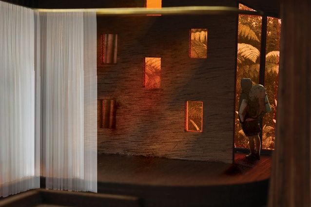 Winner of the Student Award: Kate Turner's <em>The Fictional Generator</em>. This image shows the Meeting house interior.