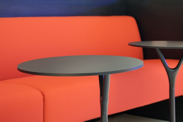 Details of the Segis Terminus bench seat and Wishbone table by Busk & Hertzog.