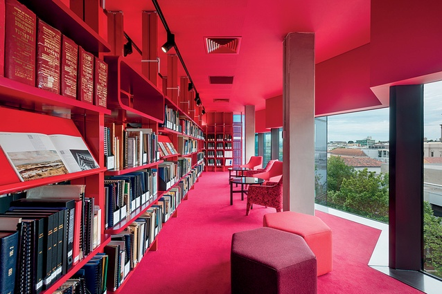 The GLHC Reading Room in a resplendent – not angry – red.