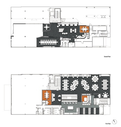 Level one and ground level plan.
