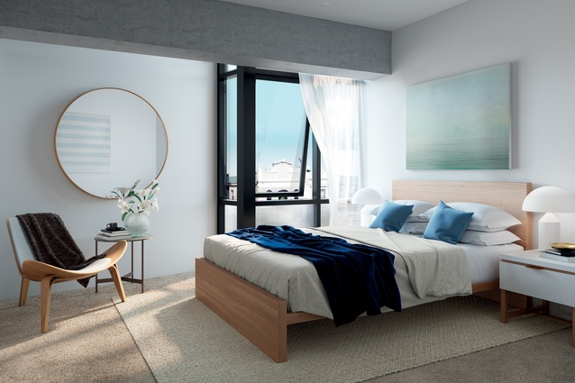 Interior designer Emily Priest says the varied apartment types means they could take six slightly different approaches to the interior design.
