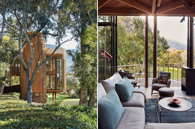 Located in a clearing on a wooded site, this cabin among the treetops takes the form of an enclosed forest.