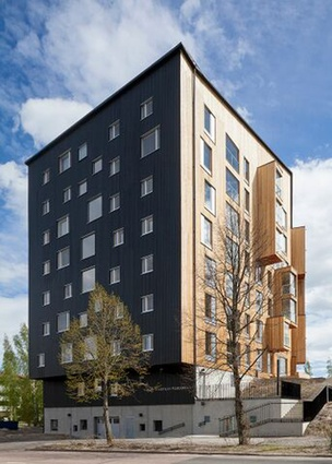 Puukuokka apartment complex, Finland, is  composed of prefabricated cubical modules made of cross laminated timber (CLT).